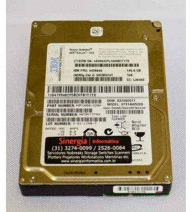 HDD IBM 146 GB 15K 6G 2,5'' SAS Power Systems AIX/Linux - 512 FRU: 44V6845