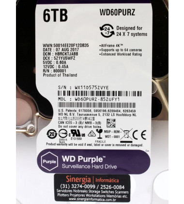 WD60PURZ | HD WD Western Digital para DVR / Vigilância 6TB 64MB cache SATA-3 6Gbs 24X7 foto etiqueta