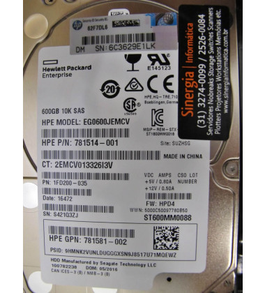 HDD 781516-B21 HP 600GB SAS 12G Enterprise 10K SFF (2.5in ) SC 1yr Wty foto