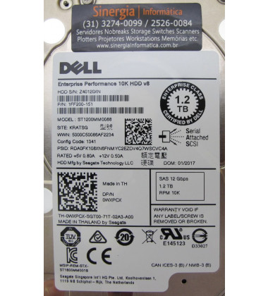 HDD de 1.2TB SAS 10K Dell PN: 1FF200-151 e 400-AJPD 0WXPCX modelo ST1200MM0088 e Foto close etiqueta