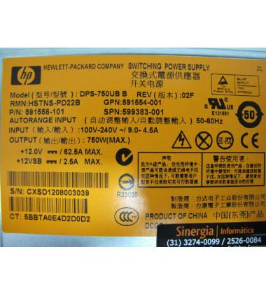 512327-B21 Fonte Redundante Para Servidores HP ProLiant e Storage StorageWorks 750W foto etiqueta
