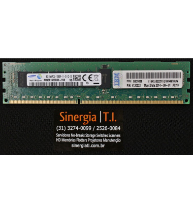 47J0222 Memória RAM IBM 8GB RDIMM PC3L-12800R DDR3 1600MHz 1Rx4 P/N foto etiqueta