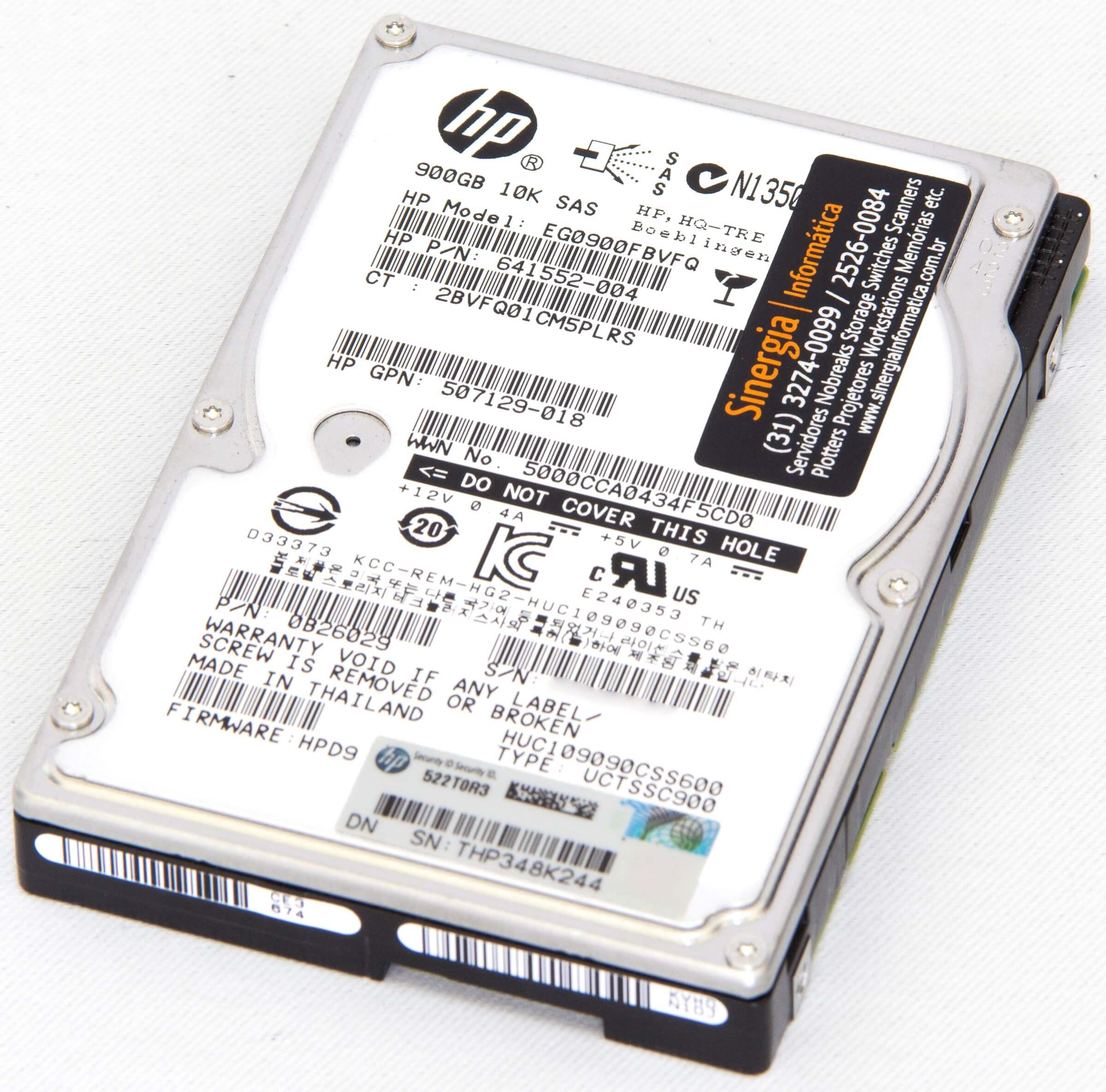 HDD de 900GB SAS 10K HPE PN: 641552-004 modelo EG0900FBVGQ