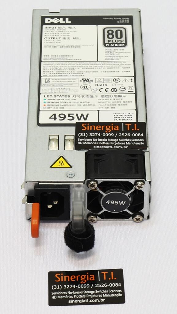 D495E-S0  Fonte redundante 495W Dell para Servidor PowerEdge R620 R720 R720xd R820 T320 T420 T620
