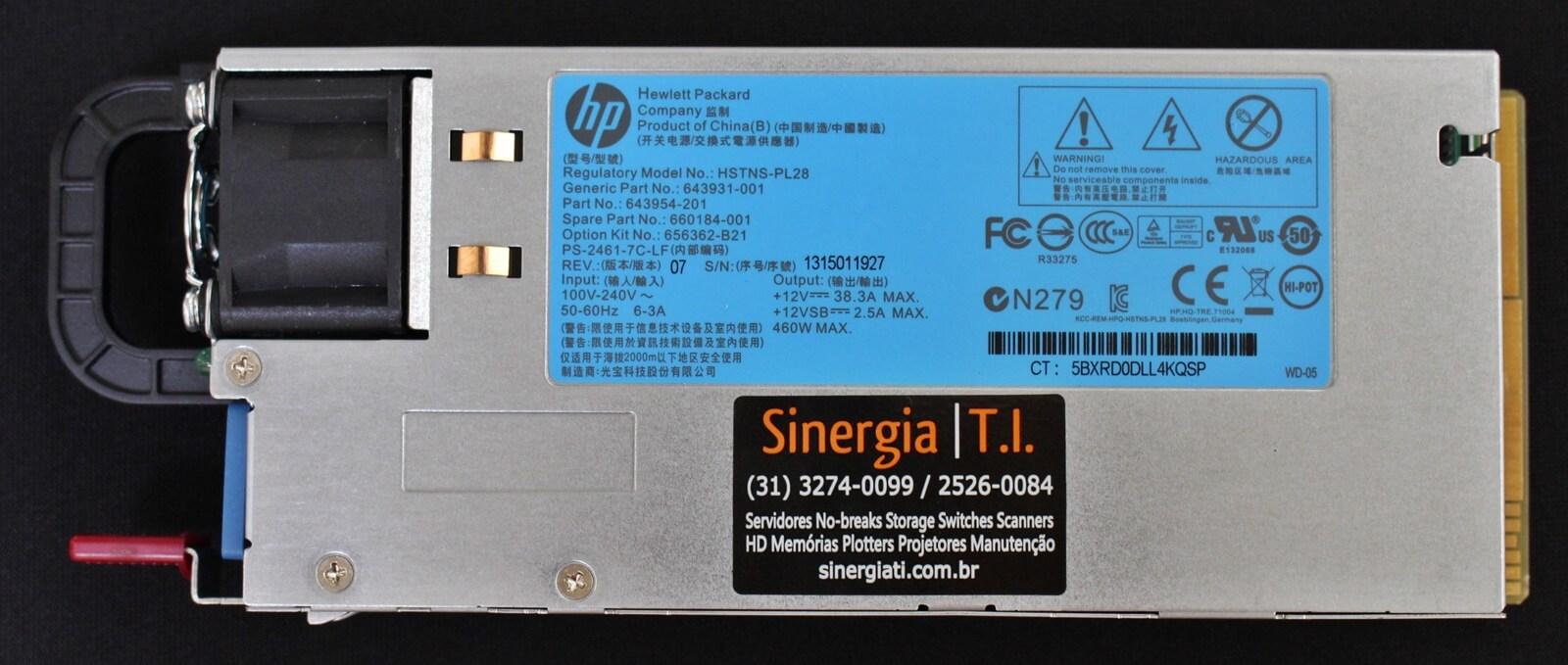 HSTNS-PL28 Fonte Redundante Para Servidores HPE ProLiant ML350p DL360e DL360p DL380e DL380p DL385p Gen8 460W pronta entrega