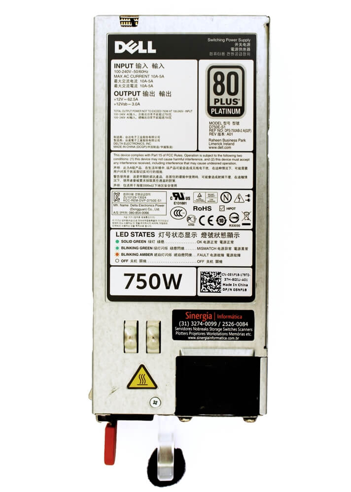 REF NO: DPS-750AB-2 A(00F) Model Fonte redundante Dell 750W para Servidor Dell R720 R520 T620 T420 T320 R820 R720XD label