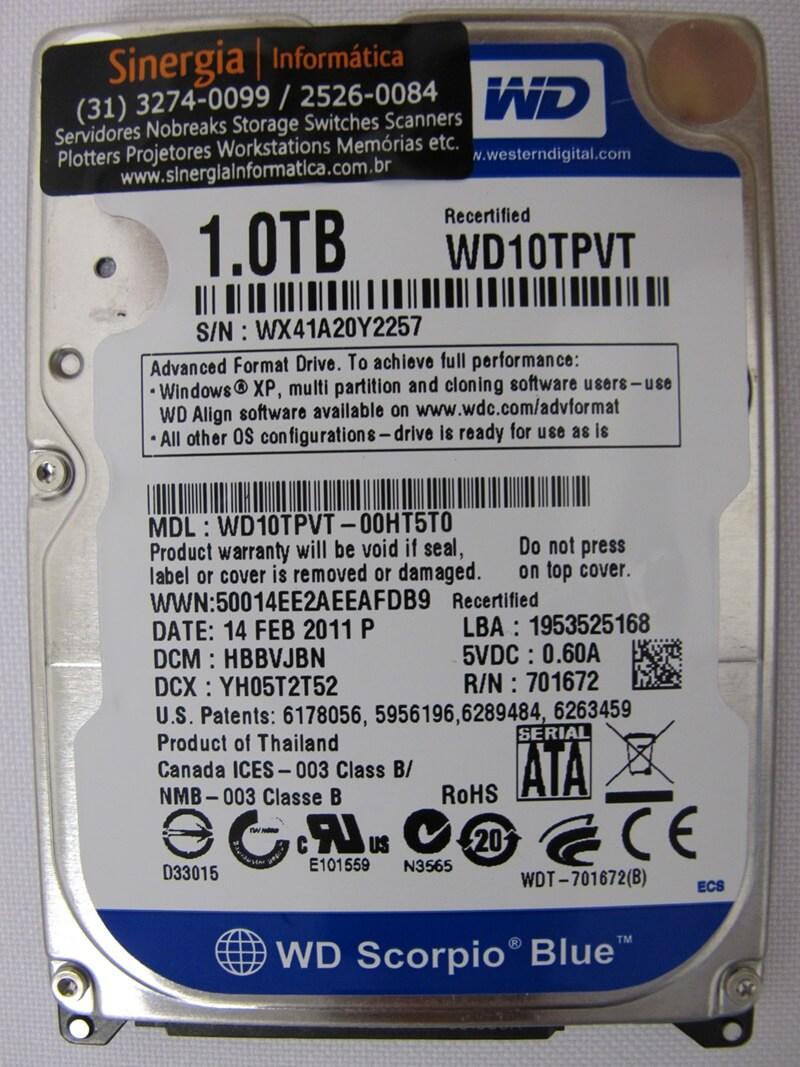 HD de 1TB SATA-2 para notebook marca Western Digital (WD) modelo WD10TPVT etiqueta