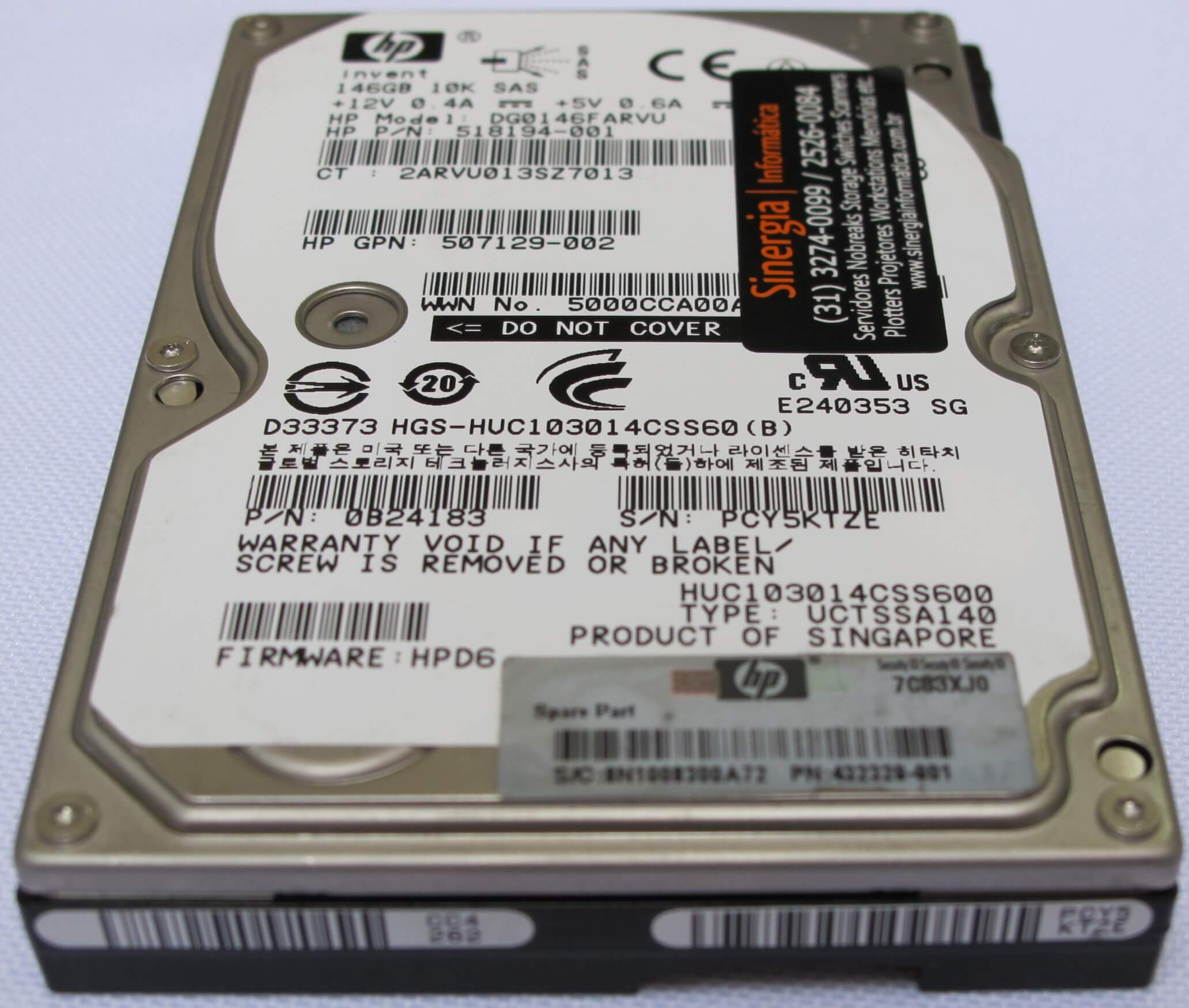 HDD 146GB SAS 10K 518194-001 e 507129-002 foto close frontal