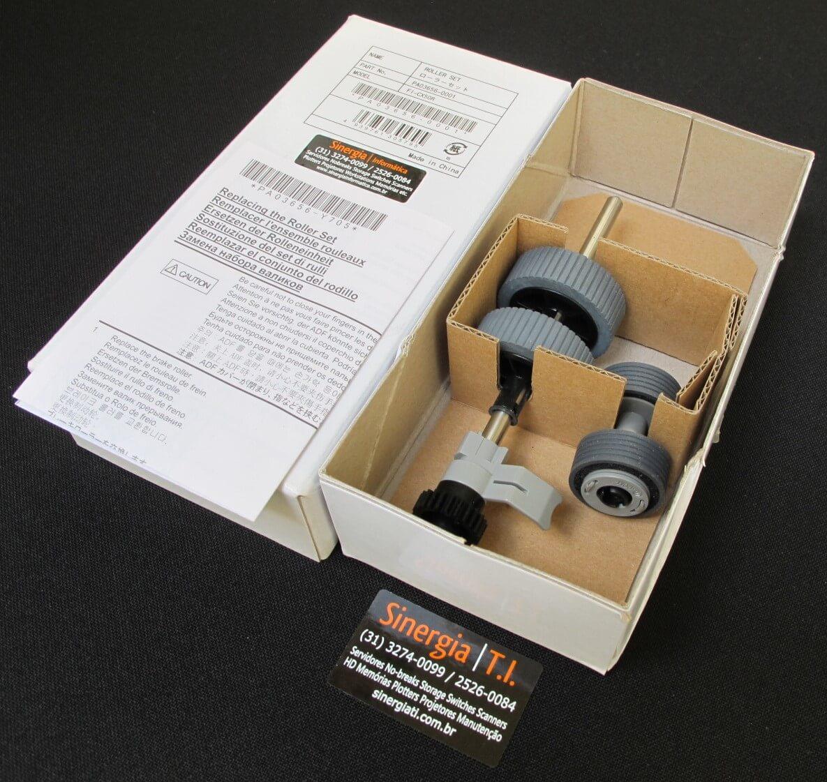 Roller Set para Scanner Fujitsu iX500 PA03656-0001 foto dos consumíveis close com a caixa original