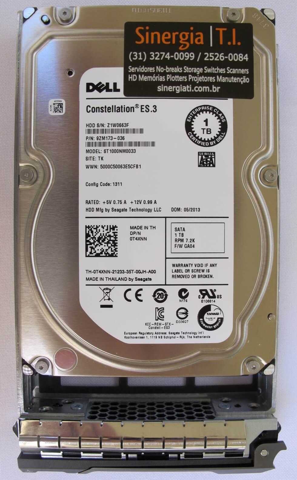 """P/N: 9ZM173-036 HD DELL 1TB SATA RPM 7.2 K 3.5"""" para Servidor R330 R430 R530 R630 R730 T330 T430 T530 T630 T730 label"""