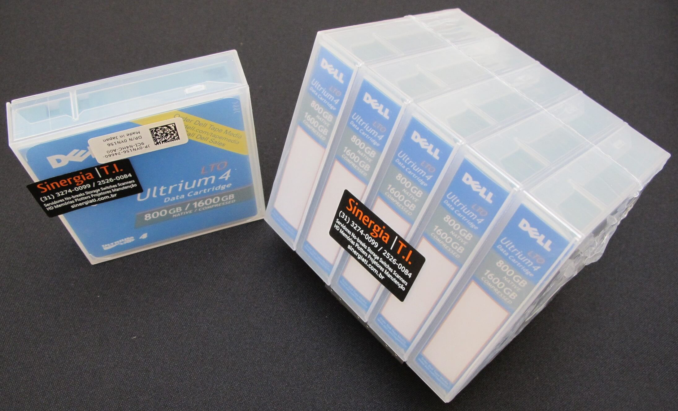 Fita de Dados LTO-4 Ultrium 4 Data Cartridge 800GB/1.6TB Dell Código do Fabricante : XW259 | Código Dell : 341-4641 foto pack 5 mídias