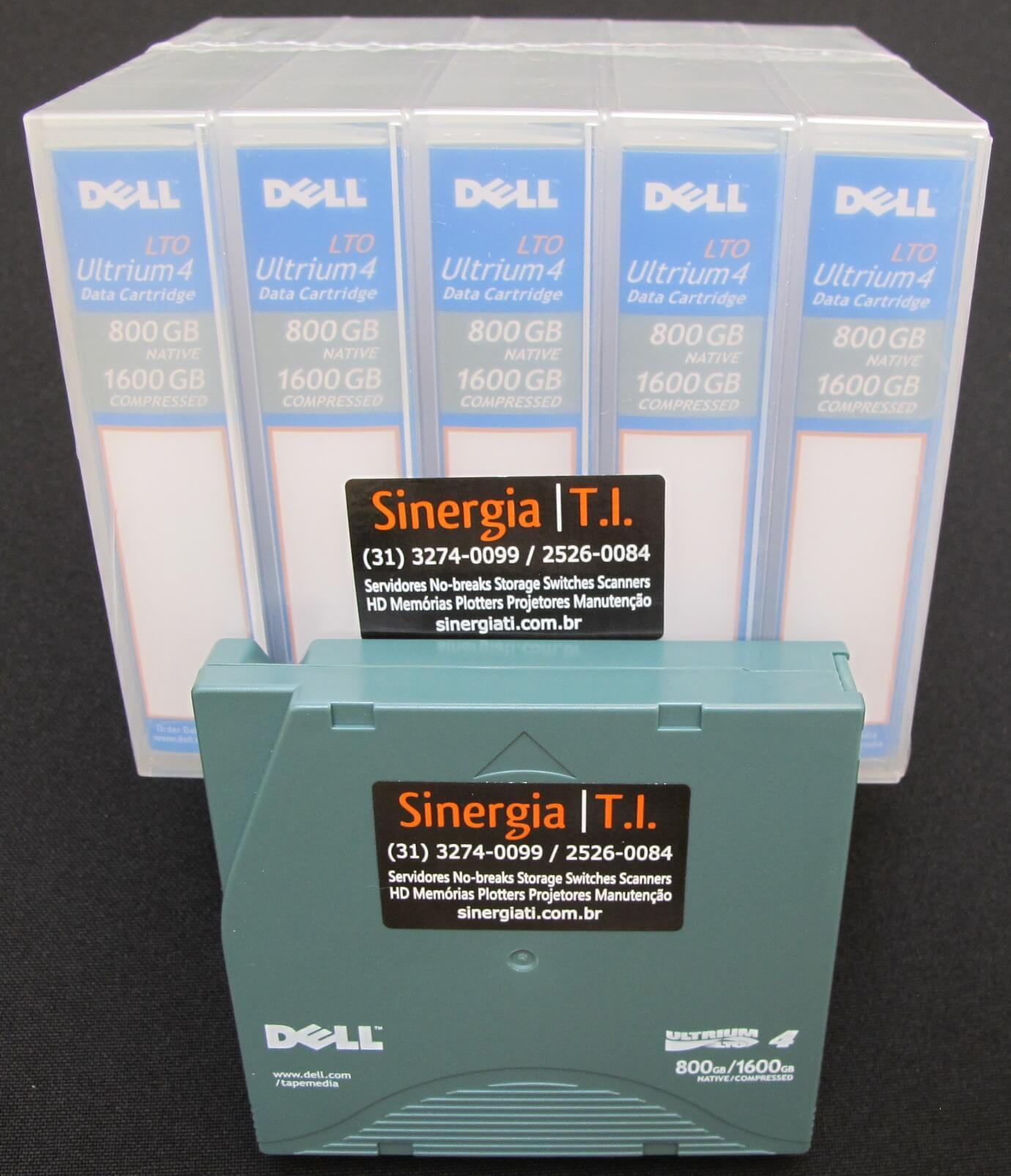 Fita de Dados LTO-4 Ultrium 4 Data Cartridge 800GB/1.6TB Dell Código do Fabricante : XW259 | Código Dell : 341-4641 foto frontal pack 5 mídias