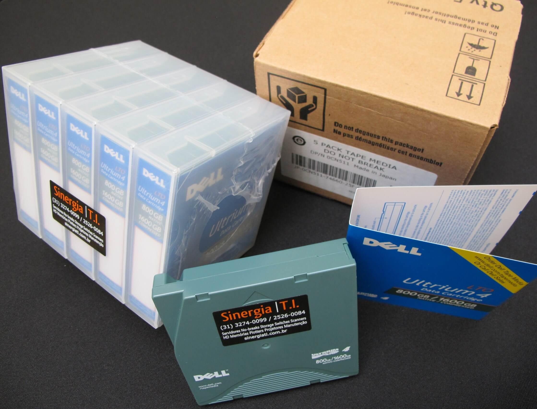 Fita de Dados LTO-4 Ultrium 4 Data Cartridge 800GB/1.6TB Dell Código do Fabricante : XW259 | Código Dell : 341-4641 foto com caixa papelão pack 5 mídias