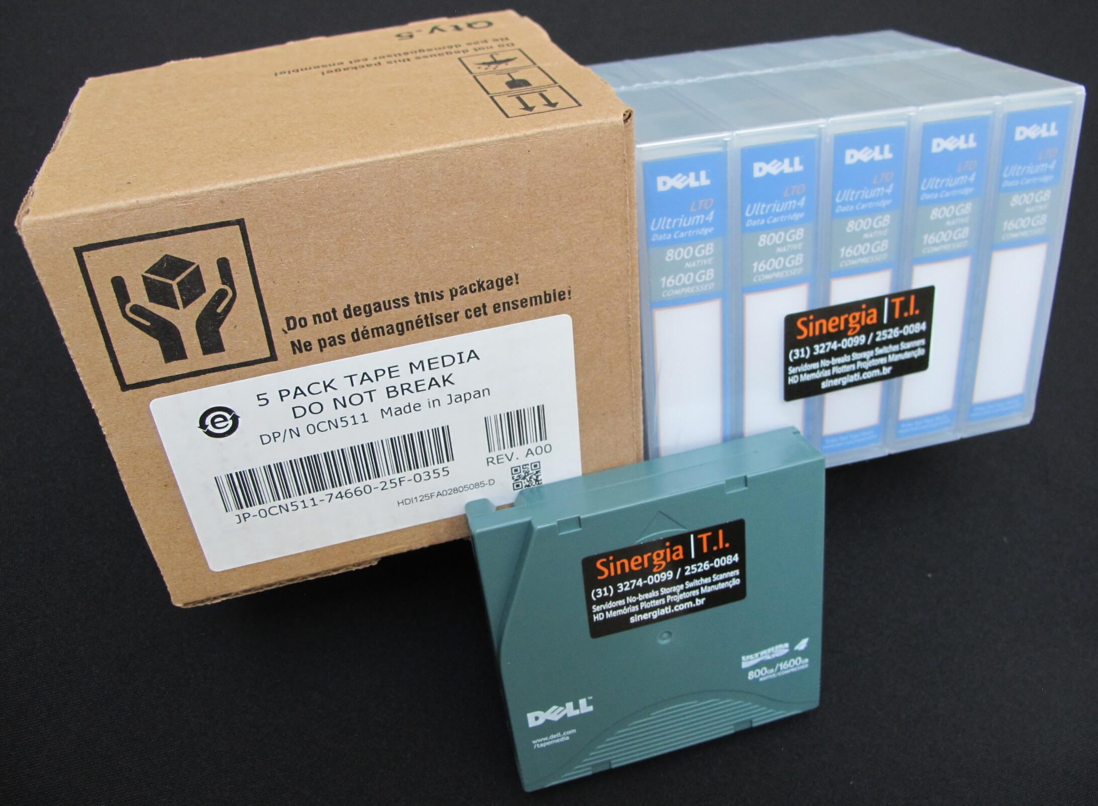 Fita de Dados LTO-4 Ultrium 4 Data Cartridge 800GB/1.6TB Dell Código do Fabricante : XW259 | Código Dell : 341-4641 foto perfil com caixa papelão pack 5 mídias