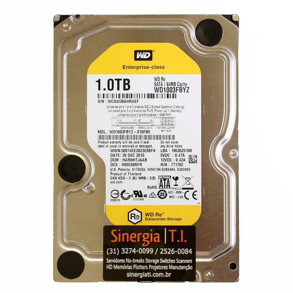 WD1003FBYZ HD Enterprise Western Digital 1TB SATA 64MB Cache 7.2K RPM