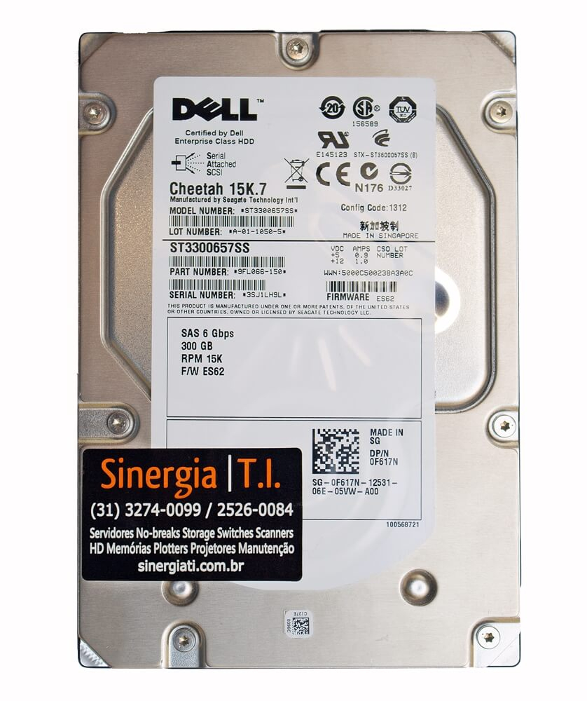 "HD Dell 300GB SAS 15K RPM 3,5"" 6Gbps para Servidor R710 PowerEdge pronta entrega"