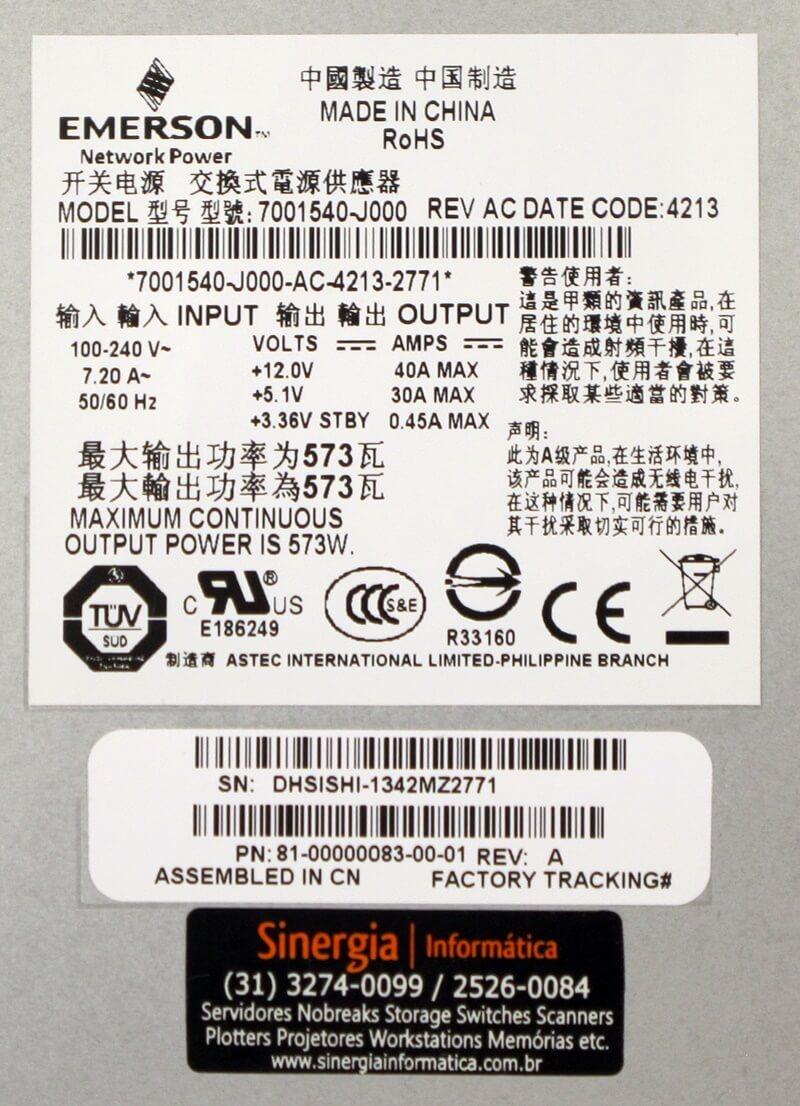 592267-002 Fonte Redundante HP 573W Storage P2000 FRU NO. label