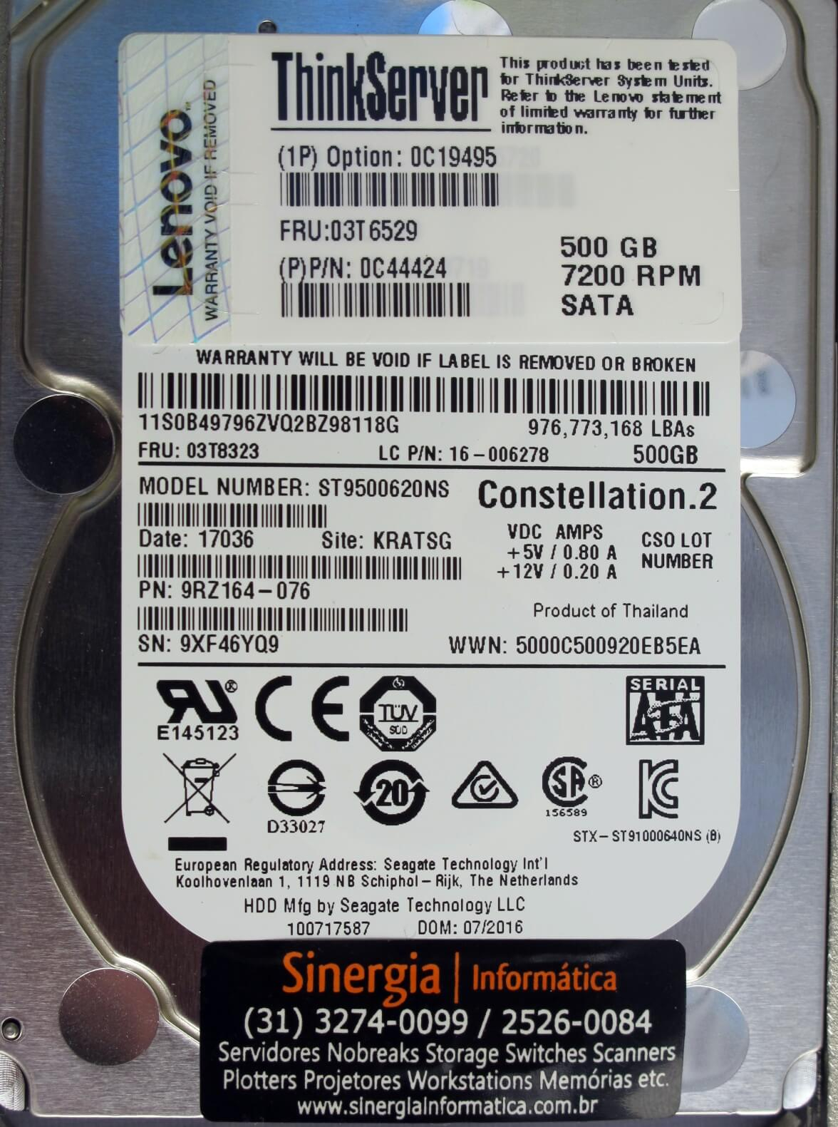 "HD Lenovo Servidor ThinkServer 500GB 7.2K 2.5"" SATA P/N: 0C44424 para Servidor RD640 RD540 RD440 RD340 TD340 TS440"