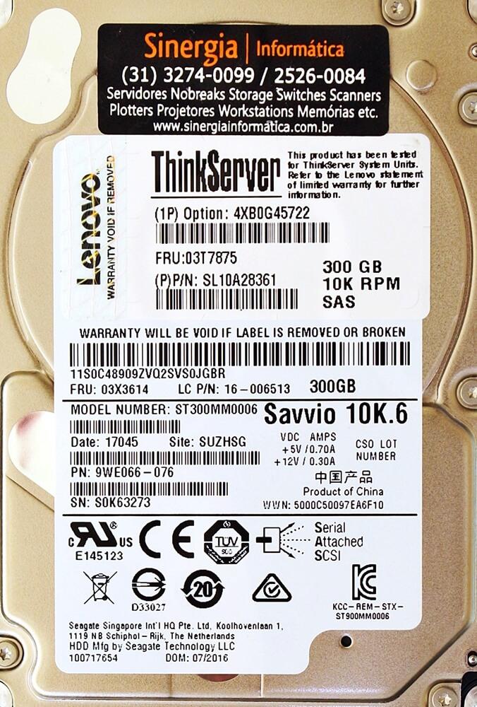 "Savvio 10K.6 HDD Lenovo ThinkServer 300GB 10K 2.5"" SAS Hot Swap Hard Drive"