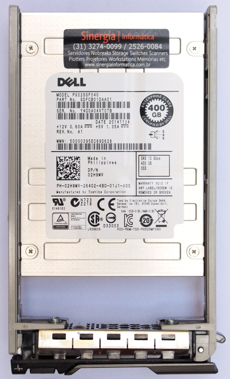"PX02SSF040 Dell 400GB SSD SAS 12Gbps 512n 2.5"" MLC WI para Servidores PowerEdge R630 label"