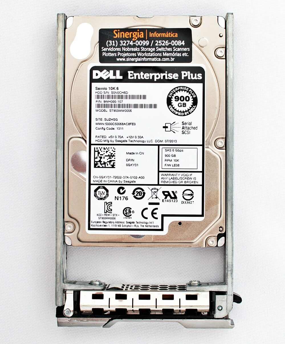 "Dell 900GB SAS 10K 6Gbps HD para Storage Dell PS6110, PS6110X e PS4110 10000 RPM SSF (2.5"") Label"