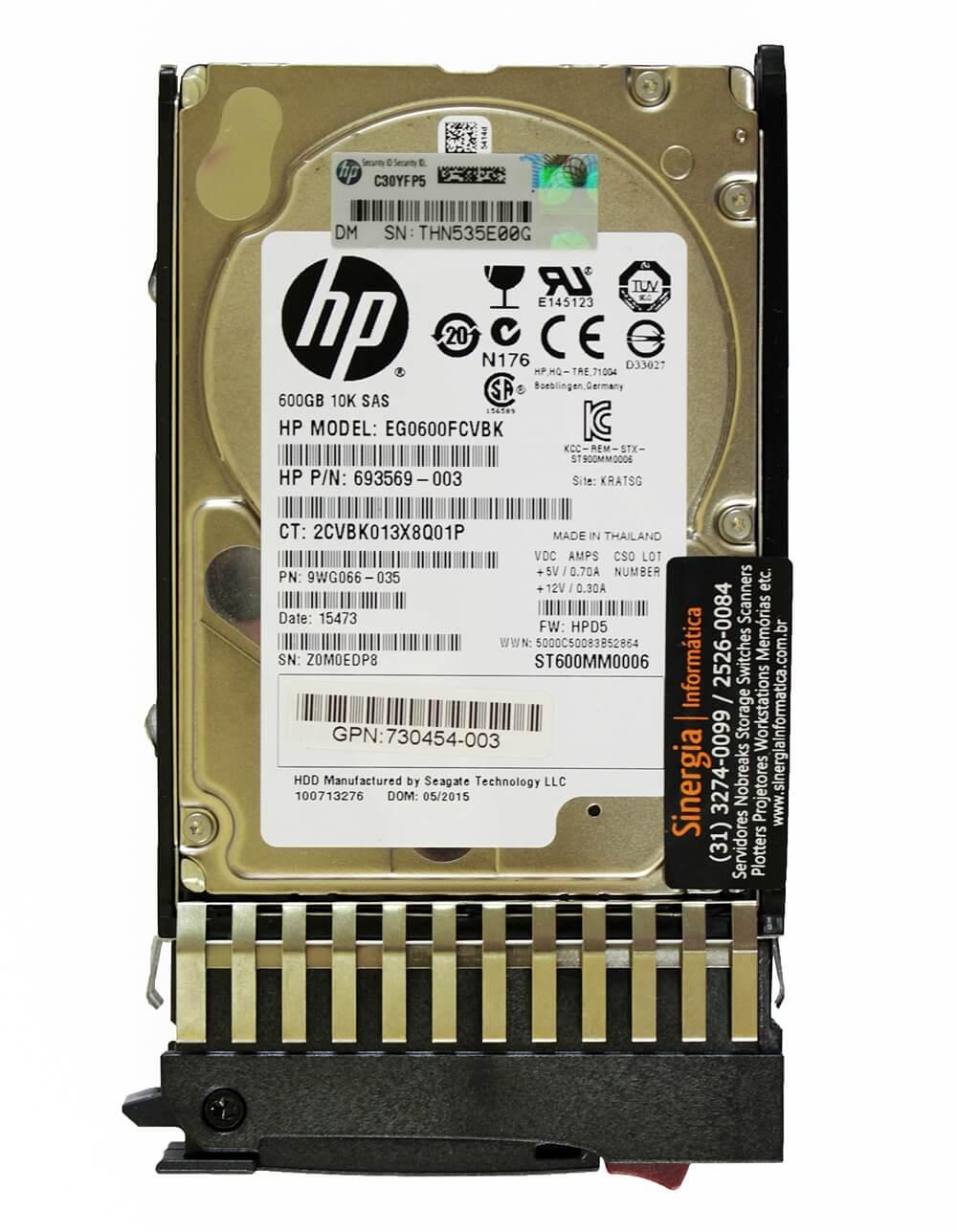 Model EG0600FCVBK 10K SAS 600GB HP 12G Enterprise 10K SFF (2.5in) para Storage MSA