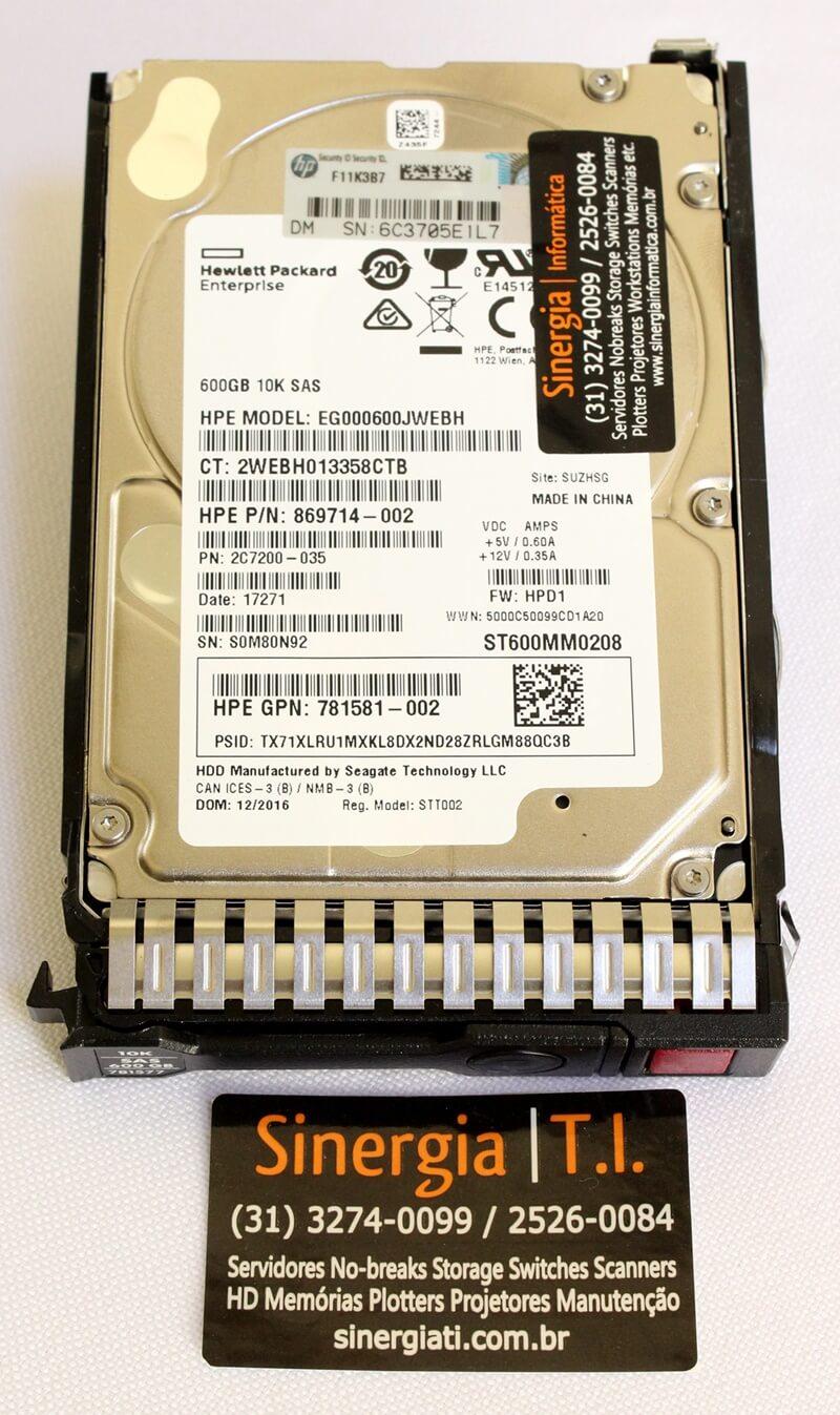 HPE P/N: 869714-002 10K SAS 600GB HP 12G Enterprise SFF (2.5in) para Servidor HPE ProLiant DL360, DL380, DL360p, DL120, DL160, DL180, DL320e, DL360e, DL380p, DL385p, DL560, DL580, ML110, ML310e V2, ML350e V2, ML350p Gen8 e Gen9 label
