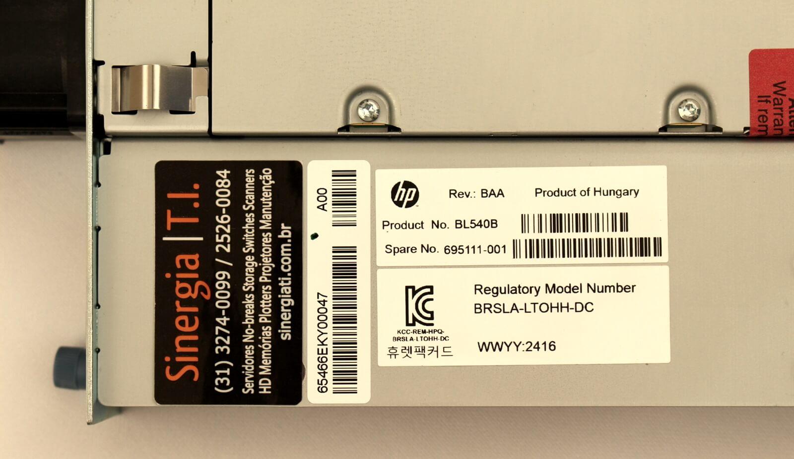 BL540B Product No. HP Tape Drive LTO-5 para Uso em Unidade Robótica MSL2024 AK379A Spare: 695111-001 label3