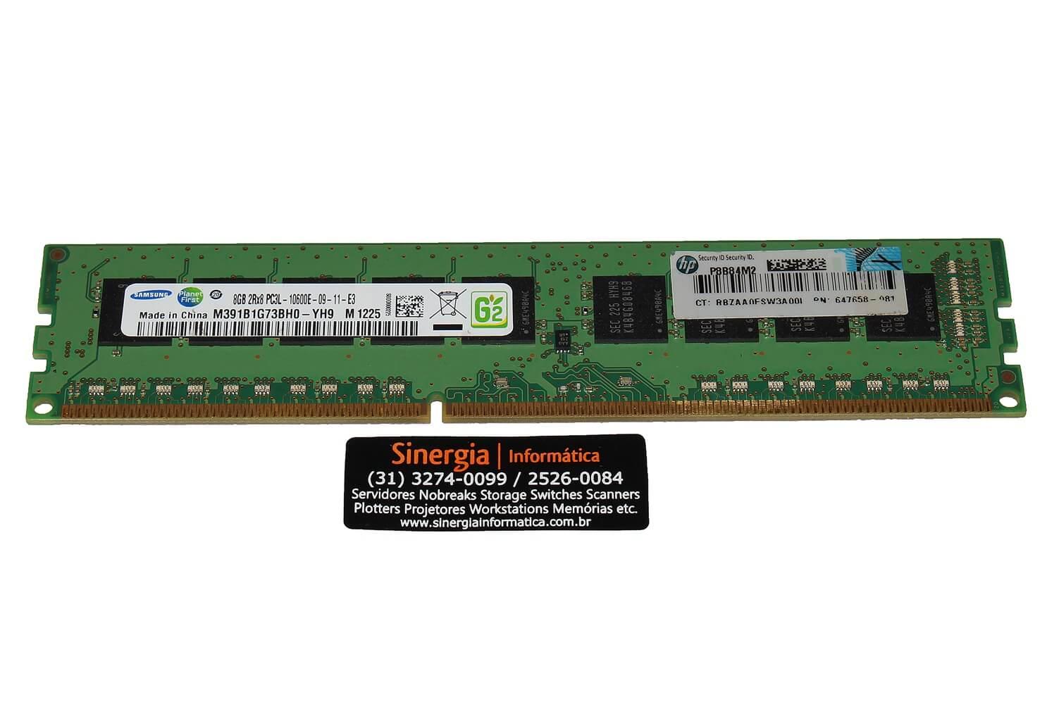 647658-081 Memória RAM HP 8GB DDR3 2Rx8 PC3L-10600E-09-11-E3 1333MHz ECC UDIMM para Servidor ML310e DL320e DL160 DL360e DL360p DL380e DL380p  ML350e ML350p Gen8 pronta entrega
