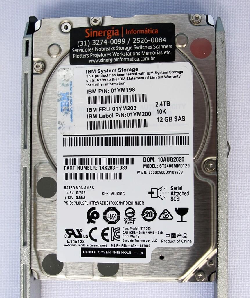 """01YM203 HD IBM 2.4TB SAS 12Gbps 10K RPM 2,5"""" pronta entrega"""
