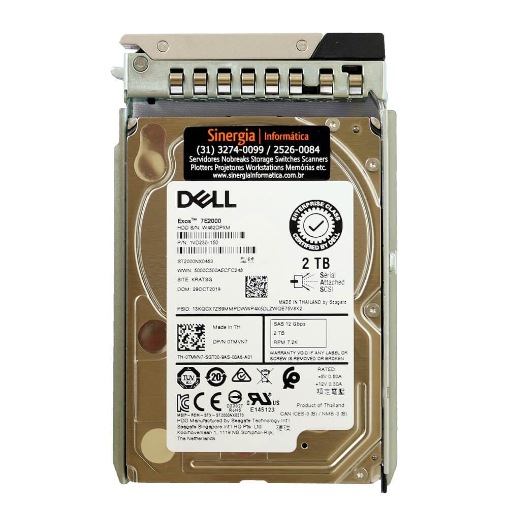 """0TMVN7 HD Dell 2TB 7.2K NL SAS 12Gbps 2.5"""" para PowerEdge R740 em estoque"""