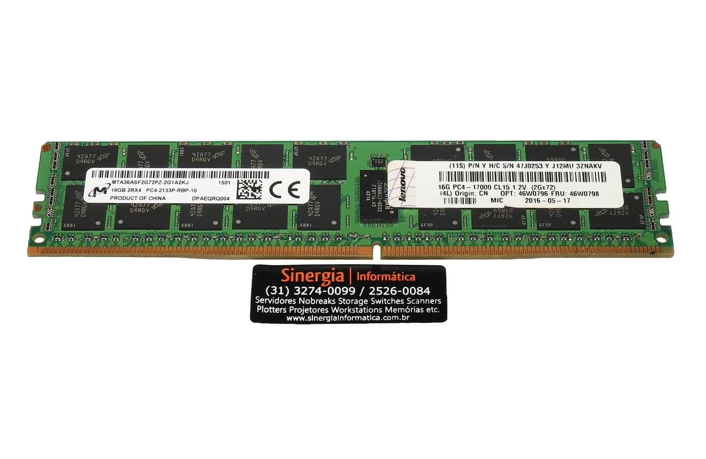 47J0253 Memória Lenovo 16GB DDR4 2133MHz ECC Registrada Servidor Lenovo System X3550 x3650 M5 x3850 x3950 X6 pronta entrega