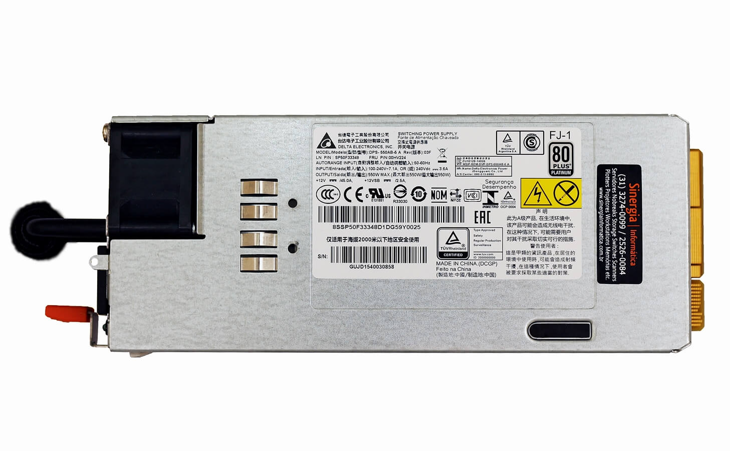 SP50F33348 FONTE REDUNDANTE LENOVO 550W HOT SWAP PARA SERVIDORES THINKSERVER RD450 RD550 RD650 TD350 label