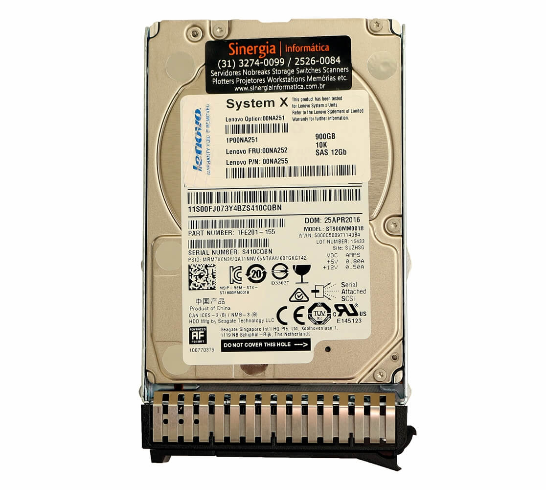 "Lenovo Option: 00NA251 | HD Lenovo 900GB 10K 2.5"" SAS 12Gb Hot Swap System X 3550 3650 M5 label"