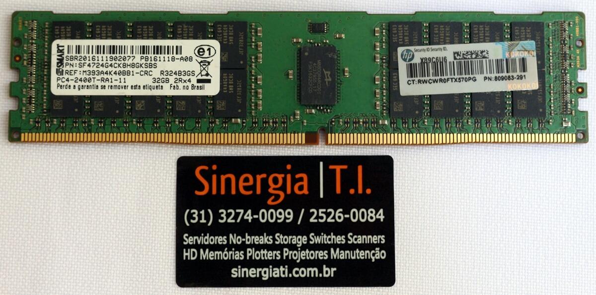 809083-291 Memória HPE 32GB Dual Rank x4 DDR4-2400 Registrada para Servidor DL120 DL160 DL180 DL360 DL380 ML110 ML150 ML350 Gen9 preço