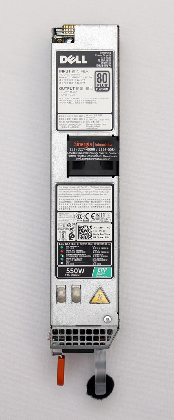 8J0D3 | Fonte redundante 550W para Servidor Dell R330 R340 R430 R440 R6415 R6515 | Peça do Fabricante