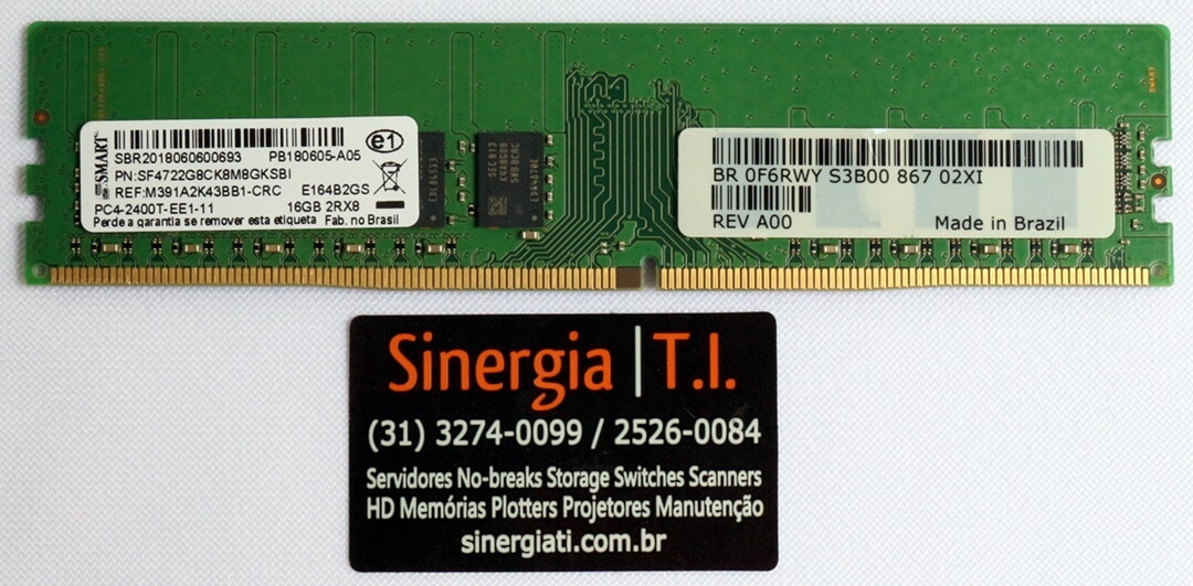 SF4722G8CK8M8GKSBI Memória RAM Dell 16GB 2RX8 PC4-2400T DDR4 UDIMM 2400MHz T130 T330 R230 R330 T3620 MT T3420 SFF PN PRICE