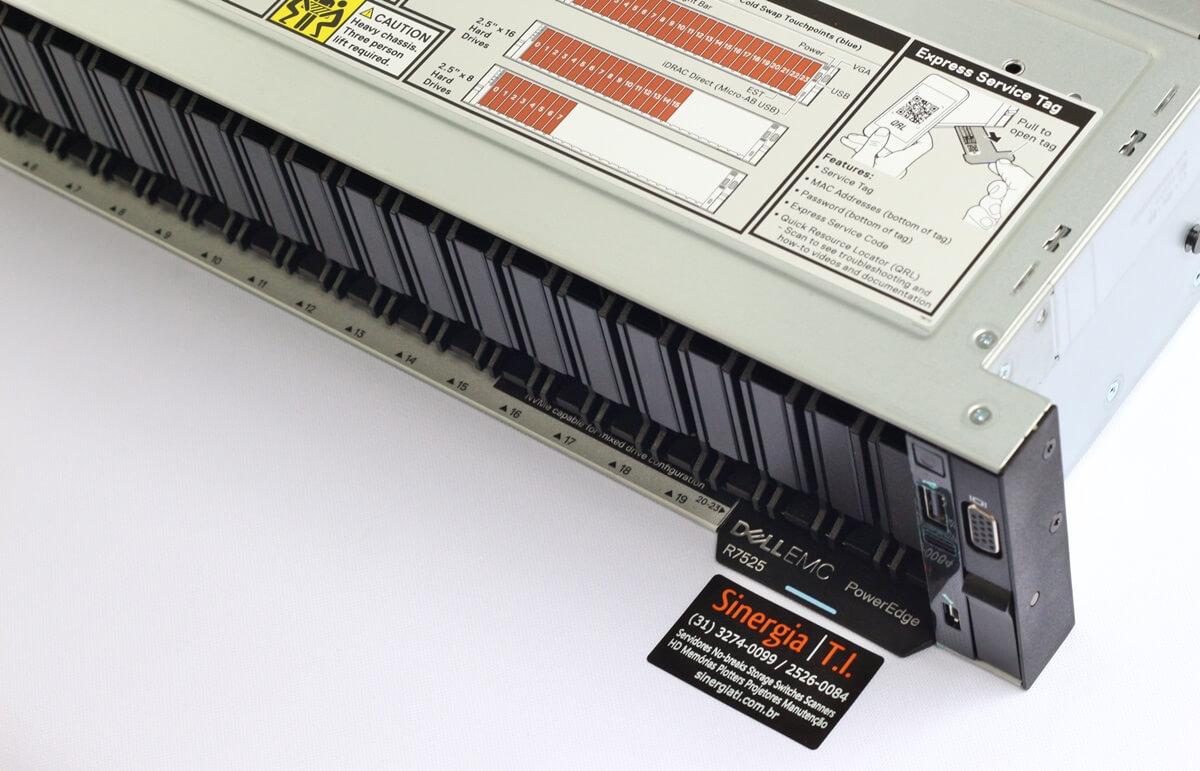 R7525 Servidor Dell PowerEdge R7525 com 2 Processadores AMD EPYC 7452 clock de 2,35 GHZ 32 Cores / 64 Threads 128MB memória Cache DDR4-3200 preço