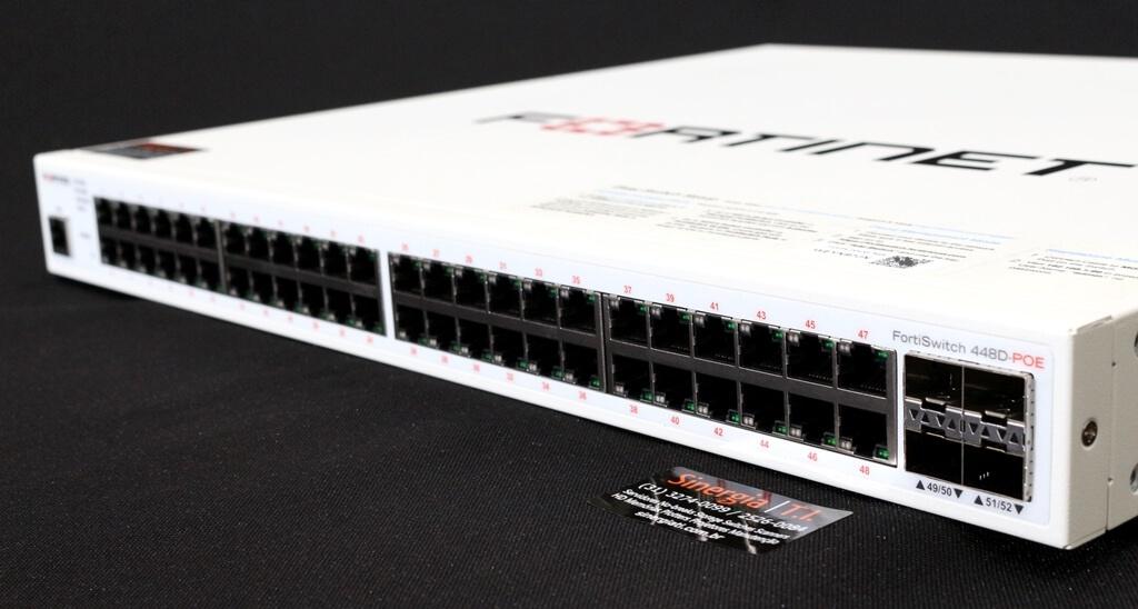 FortiSwitch 448D POE Switch Fortinet FortiSwitch 448D 48 Portas 10/100/1000 + 4 portas 10 GE SFP+ Gerenciável Camada 2 e 3 POE 370W pronta entrega em estoque