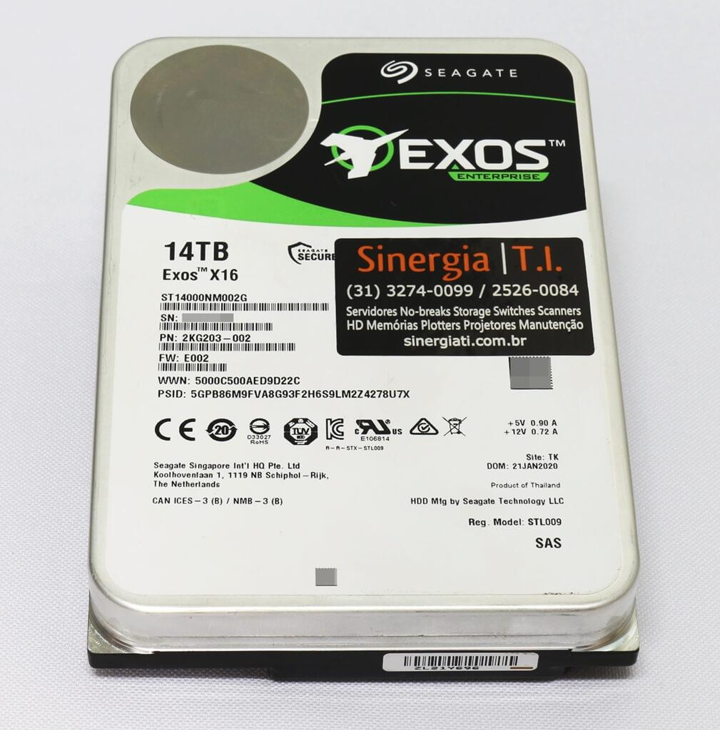 """ST14000NM002G HD Seagate 14TB SAS 12Gbps 7.2K 3.5"""" Exos X16 para Servidor pronta entrega"""