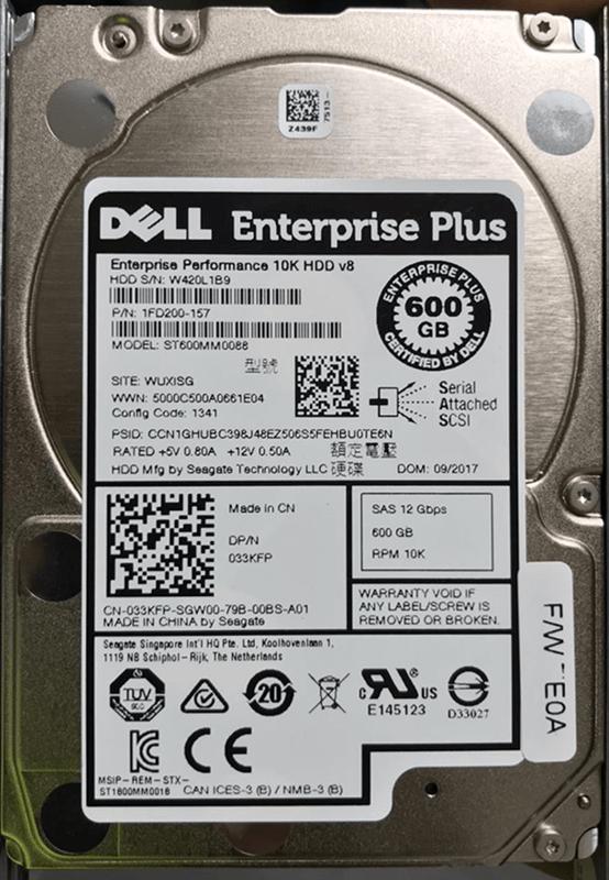 """P/N 1FD200-157 Dell 600GB SAS 6 Gbps HD para Storage Dell PS6110 e PS4110 10000 RPM SSF (2.5"""")"""