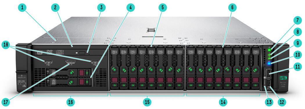 Foto frontal Servidor HPE ProLiant DL380 Gen10 4116 1P 32GB-R P408i-a 8SFF 2x800W PS PN: 875772-S05