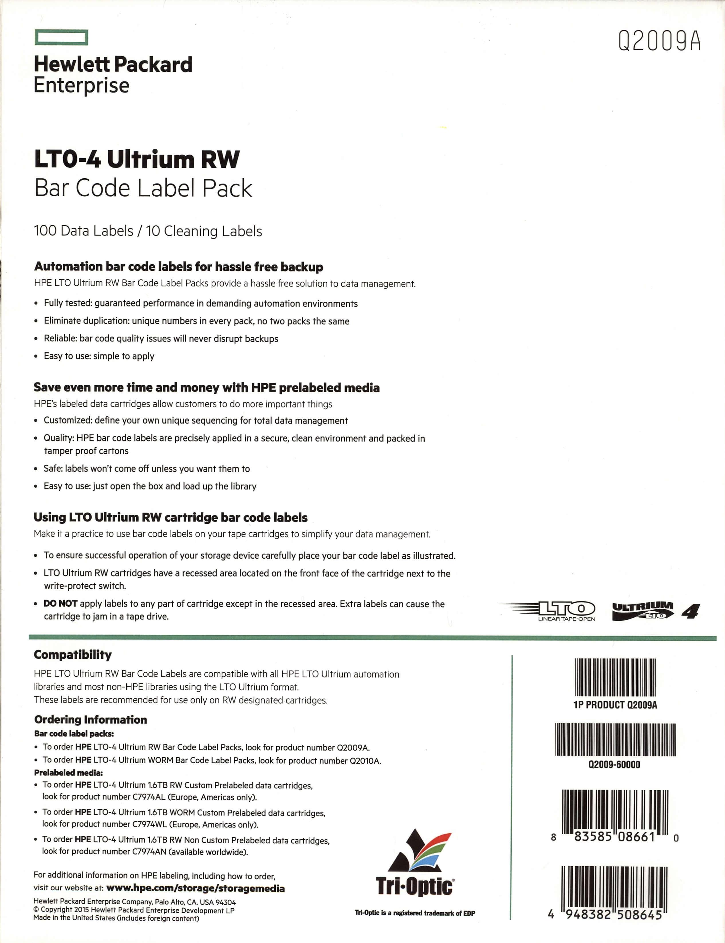 Foto do verso da capa kit de Etiquetas de Código de Barras HP Q2009A para Fitas LTO-4 Ultrium