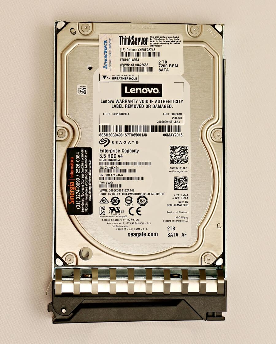 "00FC648 HD Lenovo 2TB SATA 6 Gbps 7.2K RPM LFF 3.5"" ThinkServer Enterpise Hot Swap RD350 RD450 pronta entrega"