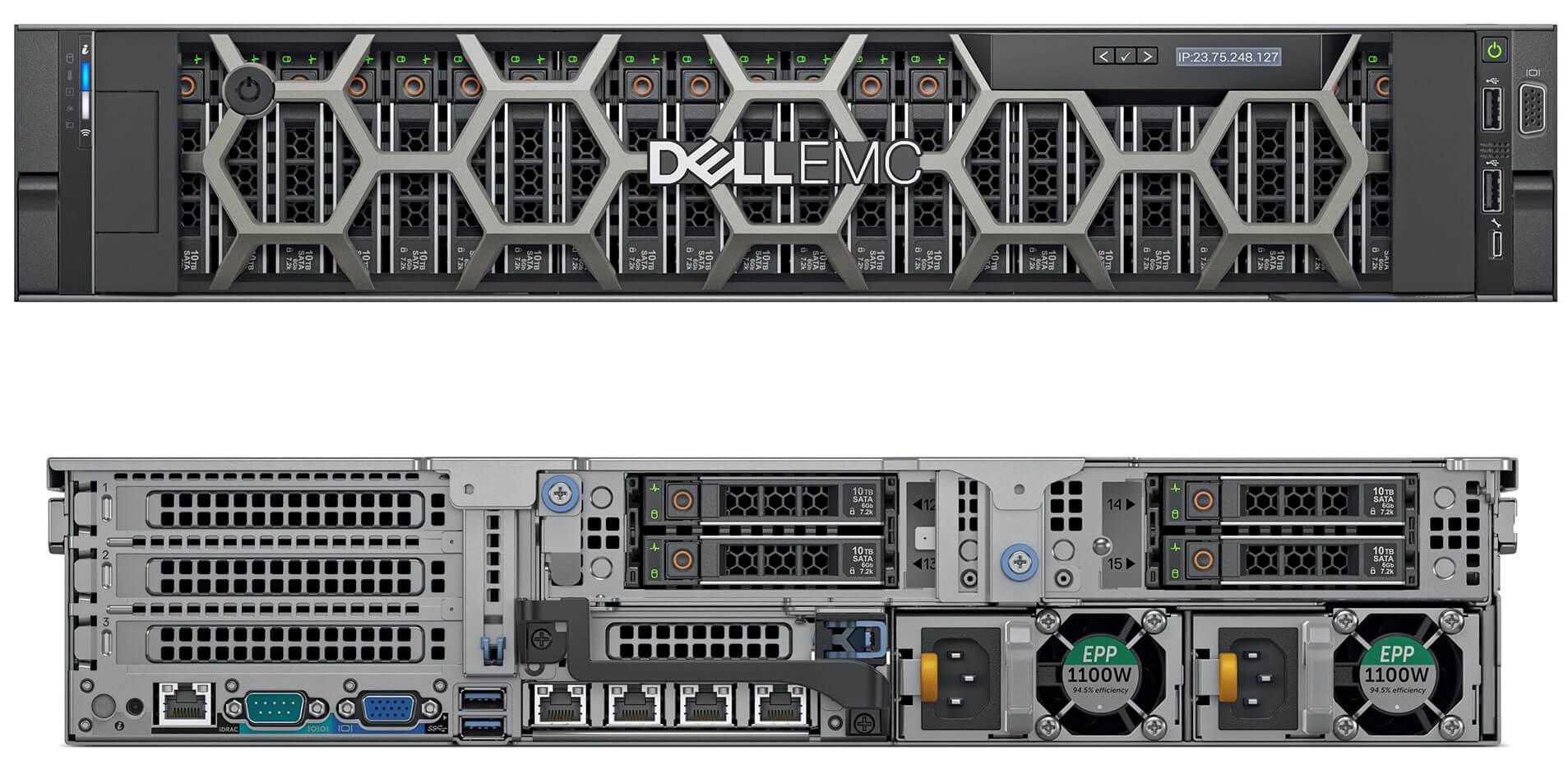 Servidor Dell R740xd PowerEdge Xeon foto frontal e traseira