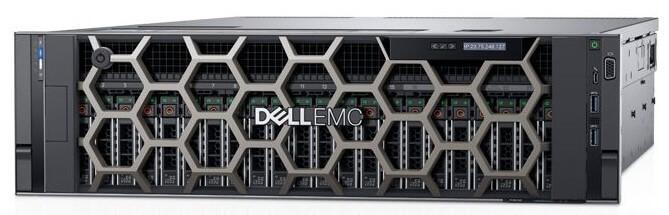 Servidor Dell EMC R940 PowerEdge Xeon foto frontal com bezel e com 24 discos de 2,5 polegadas (SFF)