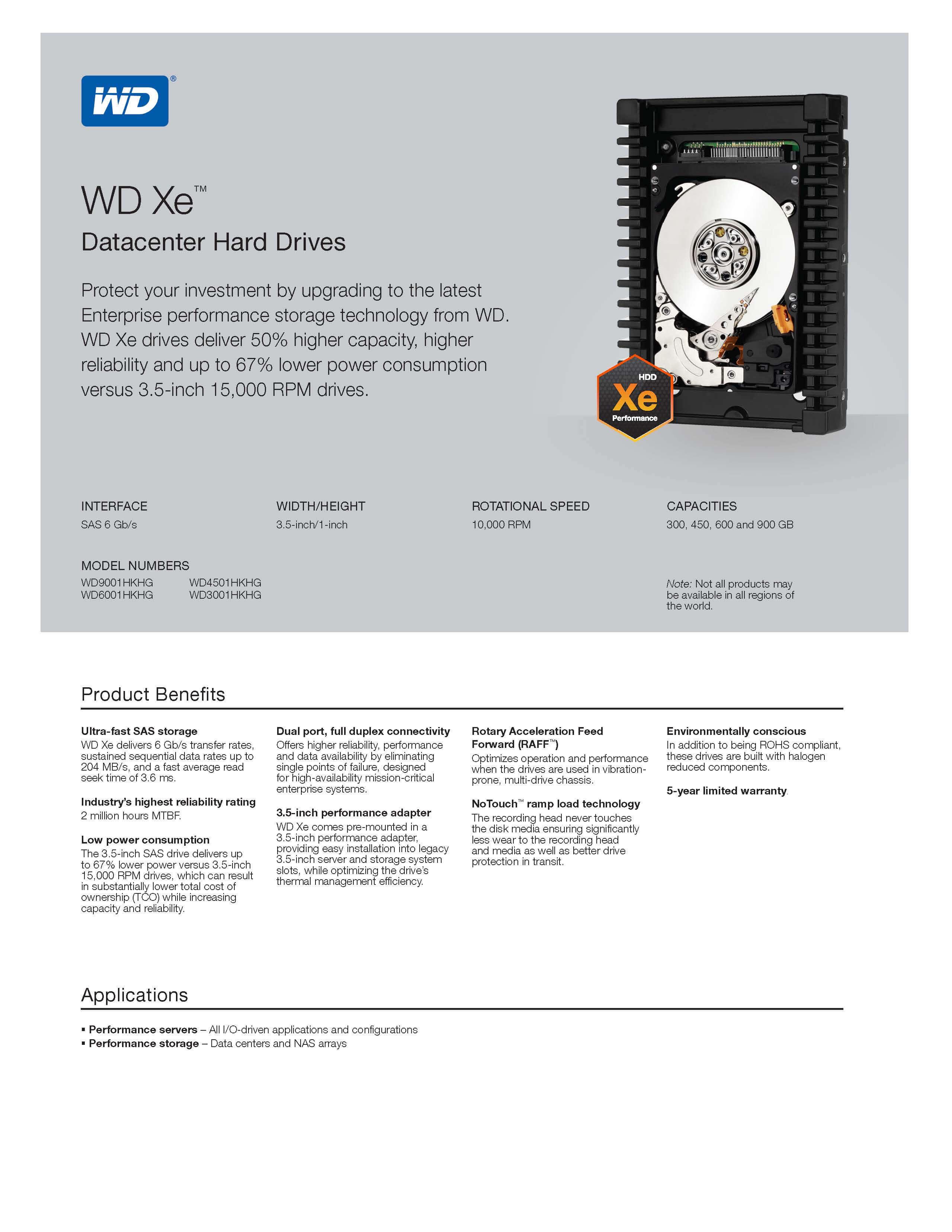"""HD 900GB SAS 3,5"""" modelo WD9001HKHG marca Western Digital"""
